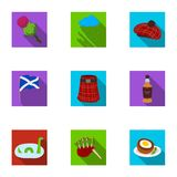 National symbols of Scotland. Scottish attractions. Scotland country icon in set collection on flat style vector symbol. Stock web illustration Stock Photos