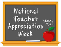 National Teacher Appreciation Week. Celebrate National Teacher Appreciation Week, held each year in USA during the 1st week of May. Chalk text on blackboard, red Royalty Free Stock Photography