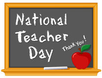 Teacher Day, National Holiday. Celebrate National Teacher Day, held annually in USA since 1984 on Tues of 1st full week of May. Chalk text on blackboard, red vector illustration