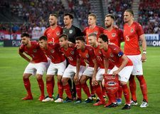 National team of Austria before international friendly match against Russia at Tivoli stadium in Innsbruck. Innsbruck, Austria - May 30, 2018. National team of stock images