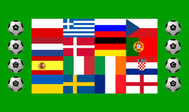 National team flags European football championship Stock Photos