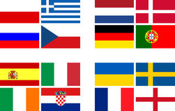 National team flags European football championship Stock Photography