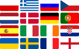 National team flags European football championship Royalty Free Stock Photos