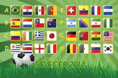 National Team Flags for soccer 2014 on grass background and soccer ball 32 nations vector illustration