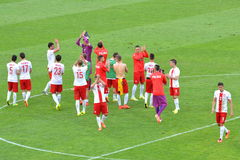 The National Team of Poland after winning friendly soccer match versus Lithuania Royalty Free Stock Image