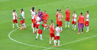 The National Team of Poland after winning friendly soccer match versus Lithuania Royalty Free Stock Photos