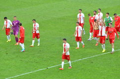 The National Team of Poland after winning friendly soccer match versus Lithuania Stock Image