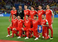 National team of Serbia before FIFA World Cup 2018 match Serbia stock photos