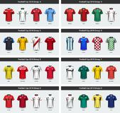 National team soccer jersey 2018 uniform group set, Football players mock-up for your presentation the match results Royalty Free Stock Images