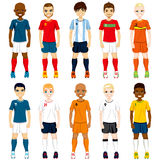 National Team Soccer Players. Collection set of soccer players in different national team uniforms Royalty Free Stock Image