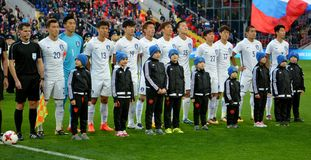 National team of South Korea before international friendly match Royalty Free Stock Photography