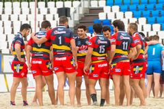 National team of Spain. MOSCOW, RUSSIA - JULY 22-23, 2017: Rugby players of the National team of Spain at the  on European Beach Fives Rugby Championship 2017 at Royalty Free Stock Photos