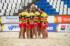 National team of Spain. MOSCOW, RUSSIA - JULY 22-23, 2017: Rugby players of the National team of Spain at the on European Beach Fives Rugby Championship 2017 at Royalty Free Stock Image
