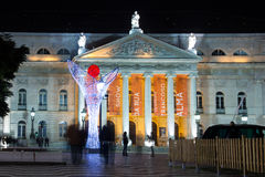 The National Teather at night. Lisbon. Portugal stock photography