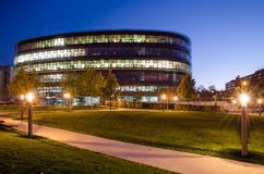 National technical library, Prague. Evening picture of Czech national technical library in Prague situated in university campus, Czech Republic Royalty Free Stock Photo