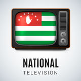 National television. Vintage TV and Flag of Abkhazian as Symbol National Television. Tele Receiver with Abkhazian flag Stock Image
