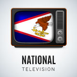 National television. Vintage TV and Flag of American Samoa as Symbol National Television. Tele Receiver with flag design Royalty Free Stock Photography