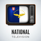 National television. Vintage TV and Flag of Azores as Symbol National Television. Tele Receiver with flag design Stock Photo