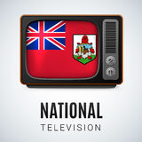 National television. Vintage TV and Flag of Bermuda as Symbol National Television. Tele Receiver with flag design Stock Image