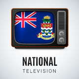 National television. Vintage TV and Flag of Cayman Islands as Symbol National Television. Tele Receiver with flag design Royalty Free Stock Photography
