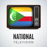 National television. Vintage TV and Flag of Comoros Islands as Symbol National Television. Tele Receiver with Comoros Islands flag Stock Photography