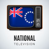 National television. Vintage TV and Flag of Cook Islands as Symbol National Television. Tele Receiver with flag design Royalty Free Stock Photography