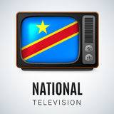 National television. Vintage TV and Flag of Democratic Republic of the Congo as Symbol National Television. Tele Receiver with flag design Royalty Free Stock Photos
