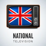 National Television. Vintage TV and Flag of Great Britain as Symbol National Television. Button with British flag Stock Photography