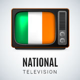 National Television. Vintage TV and Flag of Ireland as Symbol National Television. Button with Irish flag Stock Image