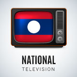 National television. Vintage TV and Flag of Laos as Symbol National Television. Tele Receiver with Laos flag Royalty Free Stock Images