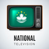 National television. Vintage TV and Flag of Macau as Symbol National Television. Tele Receiver with flag design Royalty Free Stock Photos