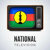 National television. Vintage TV and Flag of New Caledonia as Symbol National Television. Tele Receiver with flag design Royalty Free Stock Image
