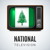 National television. Vintage TV and Flag of Norfolk Island as Symbol National Television. Tele Receiver with flag design Royalty Free Stock Photography