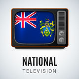 National television. Vintage TV and Flag of Pitcairn Islands as Symbol National Television. Tele Receiver with Pitcairn Islands flag Royalty Free Stock Photo