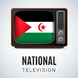 National television. Vintage TV and Flag of Sahrawi Arab Democratic Republic as Symbol National Television. Tele Receiver with flag design Stock Images