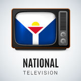 National television. Vintage TV and Flag of Saint Martin as Symbol National Television. Tele Receiver with flag design Royalty Free Stock Photography