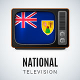 National television. Vintage TV and Flag of Turks and Caicos Islands as Symbol National Television. Tele Receiver with flag design Stock Image