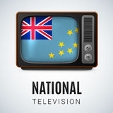 National television. Vintage TV and Flag of Tuvalu as Symbol National Television. Tele Receiver with Tuvalu flag Stock Photos