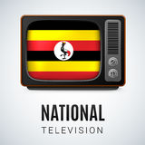 National television. Vintage TV and Flag of Uganda as Symbol National Television. Tele Receiver with Ugandan flag Stock Photography