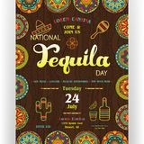 National tequila day announcing poster template. Text customized for invitation. Ornate sombrero, bottle, drink, lime, cactus icons. Ethnic ornaments for border Stock Photo