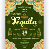 National tequila day announcing poster template. Text customized for invitation. Ornate sombrero, marigold, bottle, drink, lime, chili icons. Ethnic ornaments Royalty Free Stock Photo