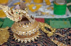 National Thai decoration. Element of national thai costume stock images