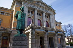 National theater. In Oslo, Norway, with statue of playwright Henrik Ibsen Stock Image