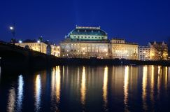 National theater at night in Prague Royalty Free Stock Photos