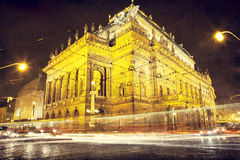 National Theater in the night with trams Stock Photos