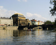 National Theater Prague. View of Prague's National Theater on the bank of the Vltava river stock image
