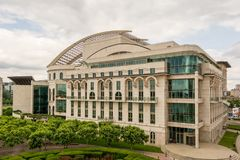 National Theatre in Budapest. This is the new bulding of the Hungarian National Theater. It stands in Budapest on the royalty free stock image
