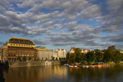 National Theatre Building City Prague Landmark Heritage. View over the surface of the river Vltava to the National Theatre building in Prague, Czech Republic stock photo