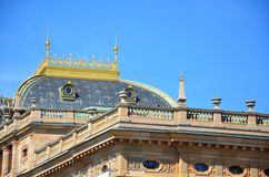 National Theatre - detail of its golden roof, Prague Stock Photos