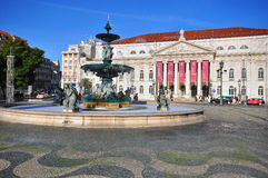 National theatre on Dom Pedro IV square in Lisbon Stock Image